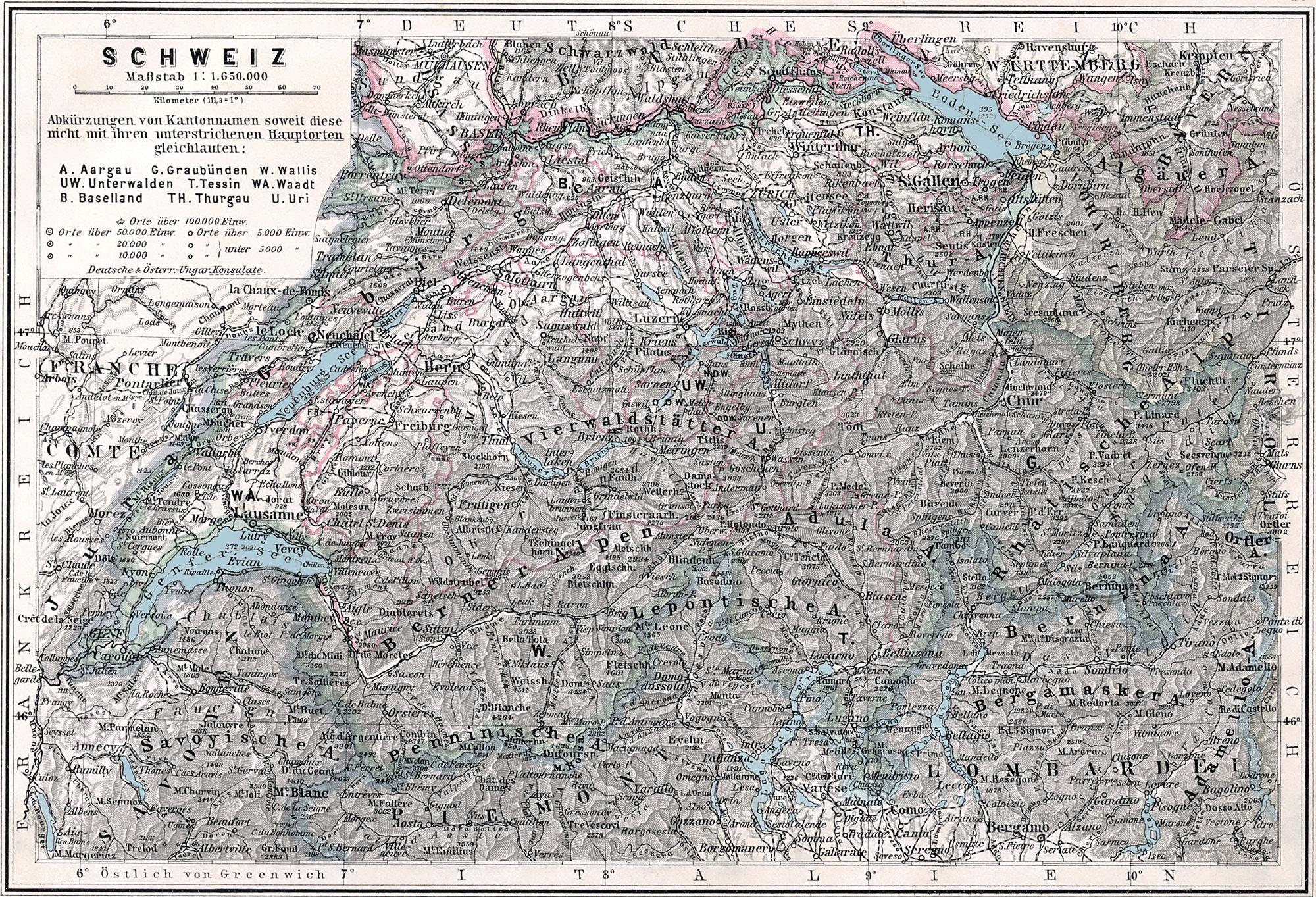 Alte Landkarten Schweiz